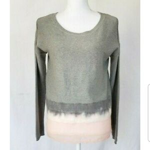 Anthropologie Gray Tye Dye Sheer Hem Sweater Small